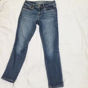 AEO Super Skinny Mid-rise Medium Dark Denim Jeans